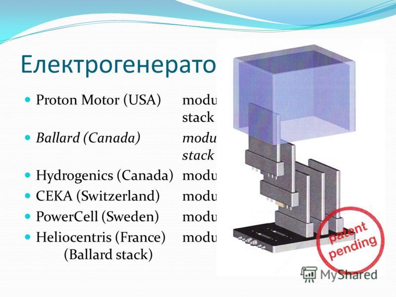Електрогенератори Proton Motor (USA) module70 W/kg stack553 W/kg Ballard (Canada)module300-450 W/kg stack600-1100 W/kg Hydrogenics (Canada)module150 W/kg CEKA (Switzerland)module150 W/kg PowerCell (Sweden)module50 W/kg Heliocentris (France)module54,5