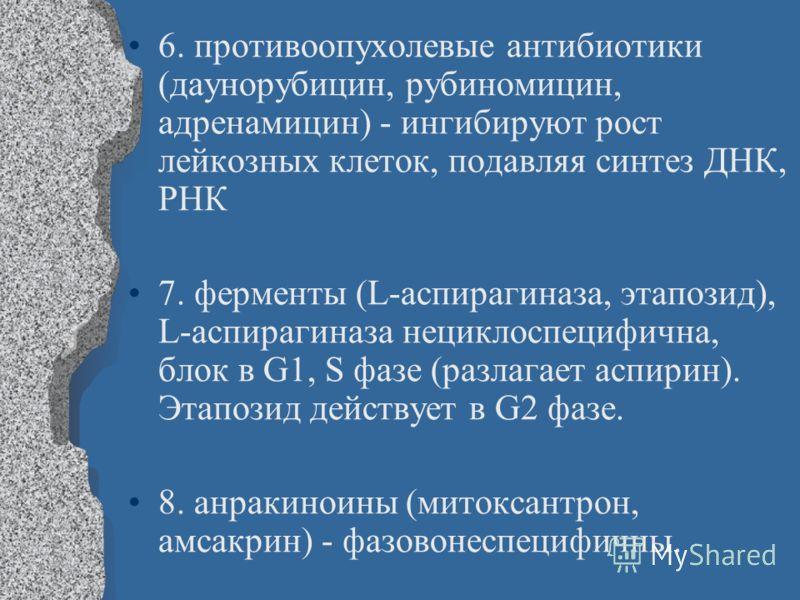 6. противоопухолевые антибиотики (даунорубицин, рубиномицин, адренамицин) - ингибируют рост лейкозных клеток, подавляя синтез ДНК, РНК 7. ферменты (L-аспирагиназа, этапозид), L-аспирагиназа нециклоспецифична, блок в G1, S фазе (разлагает аспирин). Эт