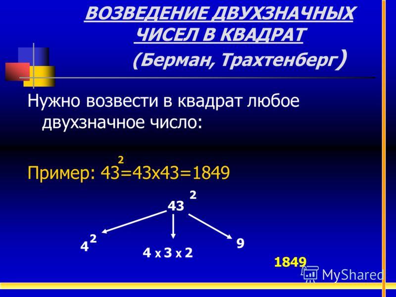 ВОЗВЕДЕНИЕ ДВУХЗНАЧНЫХ ЧИСЕЛ В КВАДРАТ (Берман, Трахтенберг ) Нужно возвести в квадрат любое двухзначное число: Пример: 43=43х43=1849 2 2 43 9 4 Х 3 Х 2 4 2 1849