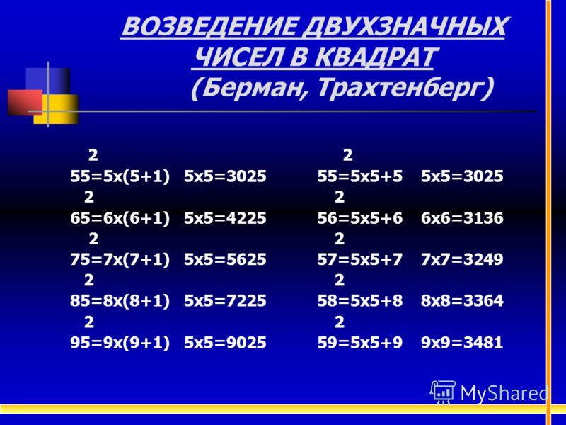 2 2 55=5х(5+1) 5х5=3025 55=5х5+5 5х5=3025 2 2 65=6х(6+1) 5х5=4225 56=5х5+6 6х6=3136 2 2 75=7х(7+1) 5х5=5625 57=5х5+7 7х7=3249 2 2 85=8х(8+1) 5х5=7225 58=5х5+8 8х8=3364 2 2 95=9х(9+1) 5х5=9025 59=5х5+9 9х9=3481 ВОЗВЕДЕНИЕ ДВУХЗНАЧНЫХ ЧИСЕЛ В КВАДРАТ (