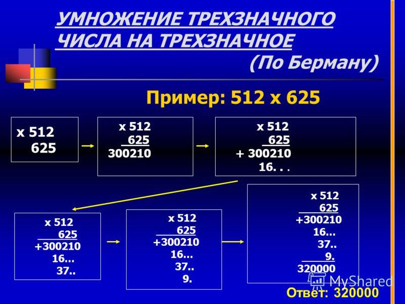 УМНОЖЕНИЕ ТРЕХЗНАЧНОГО ЧИСЛА НА ТРЕХЗНАЧНОЕ (По Берману) х 512 625 х 512 625 + 300210 16... х 512 625 300210 Пример: 512 х 625 х 512 625 +300210 16… 37.. х 512 625 +300210 16… 37.. 9. х 512 625 +300210 16… 37.. 9. 320000 Ответ: 320000