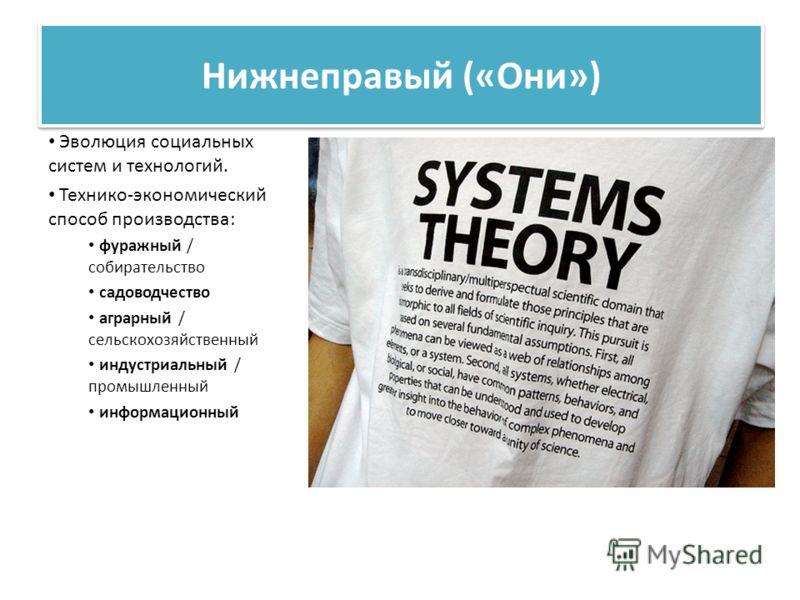 Нижнеправый («Они») Эволюция социальных систем и технологий. Технико-экономический способ производства: фуражный / собирательство садоводчество аграрный / сельскохозяйственный индустриальный / промышленный информационный