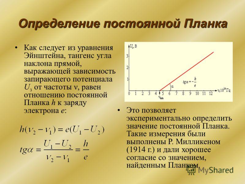 Определение постоянной Планка Как следует из уравнения Эйнштейна, тангенс угла наклона прямой, выражающей зависимость запирающего потенциала U з от частоты ν, равен отношению постоянной Планка h к заряду электрона e: Это позволяет экспериментально оп