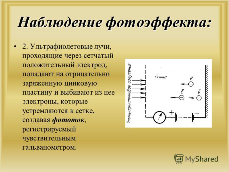 Наблюдение фотоэффекта: 2. Ультрафиолетовые лучи, проходящие через сетчатый положительный электрод, попадают на отрицательно заряженную цинковую пластину и выбивают из нее электроны, которые устремляются к сетке, создавая фототок, регистрируемый чувс