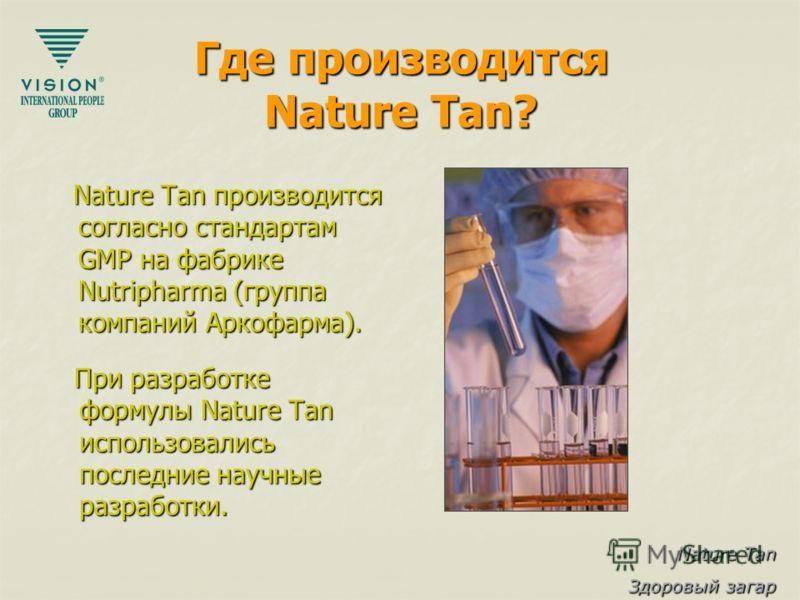 Nature Tan Здоровый загар Где производится Nature Tan? Nature Tan производится согласно стандартам GMP на фабрике Nutripharma (группа компаний Аркофарма). Nature Tan производится согласно стандартам GMP на фабрике Nutripharma (группа компаний Аркофар