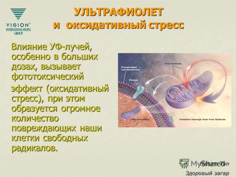 Nature Tan Здоровый загар УЛЬТРАФИОЛЕТ и оксидативный стресс Влияние УФ-лучей, особенно в больших дозах, вызывает фототоксический Влияние УФ-лучей, особенно в больших дозах, вызывает фототоксический эффект (оксидативный стресс), при этом образуется о