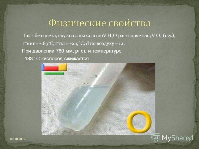 Газ - без цвета, вкуса и запаха; в 100V H 2 O растворяется 3V O 2 (н.у.); t кип= -183 С; t пл = -219 C; d по воздуху = 1,1. При давлении 760 мм. рт.ст. и температуре –183 С кислород сжижается 21.07.2012 4