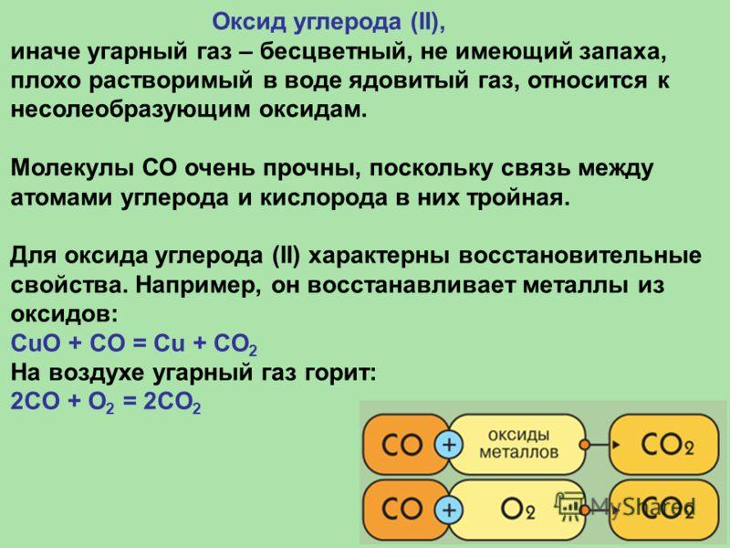 Оксид углерода (II), иначе угарный газ – бесцветный, не имеющий запаха, плохо растворимый в воде ядовитый газ, относится к несолеобразующим оксидам. Молекулы СО очень прочны, поскольку связь между атомами углерода и кислорода в них тройная. Для оксид