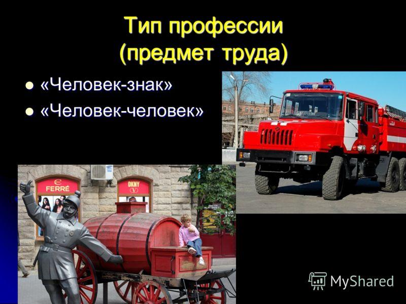 Тип профессии (предмет труда) «Человек-знак» «Человек-знак» «Человек-человек» «Человек-человек»