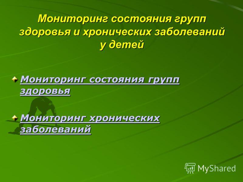 Мониторинг состояния групп здоровья и хронических заболеваний у детей Мониторинг состояния групп здоровья Мониторинг состояния групп здоровья Мониторинг хронических заболеваний Мониторинг хронических заболеваний
