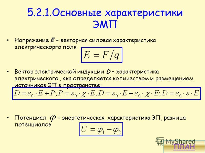 5.2.1.Основные характеристики ЭМП Напряжение Е – векторная силовая характеристика электрическорго поля Вектор электрической индукции D – характеристика электрического, яка определяется количеством и размещением источников ЭП в пространстве: Потенциал