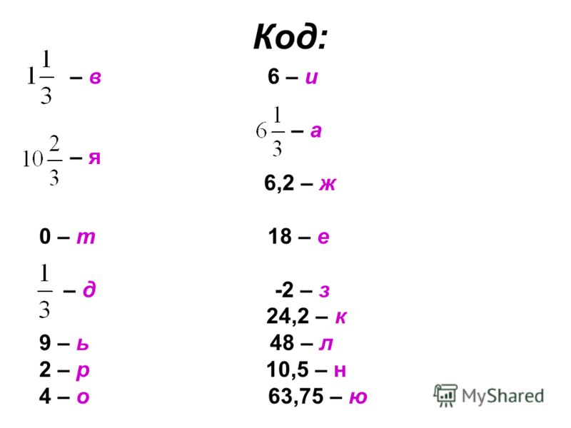 Код: – в 6 – и – а – я 6,2 – ж 0 – т18 – е – д -2 – з 24,2 – к 9 – ь 48 – л 2 – р 10,5 – н 4 – о 63,75 – ю