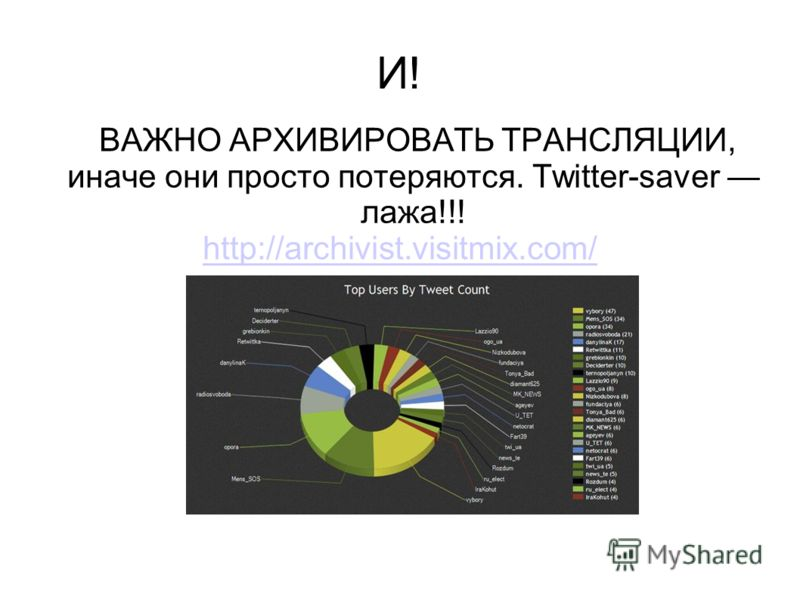 И! ВАЖНО АРХИВИРОВАТЬ ТРАНСЛЯЦИИ, иначе они просто потеряются. Twitter-saver лажа!!! http://archivist.visitmix.com/