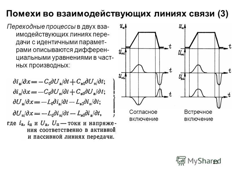 23 Помехи во взаимодействующих линиях связи (3) Согласное включение Встречное включение Переходные процессы в двух вза- имодействующих линиях пере- дачи с идентичными парамет- рами описываются дифферен- циальными уравнениями в част- ных производных: