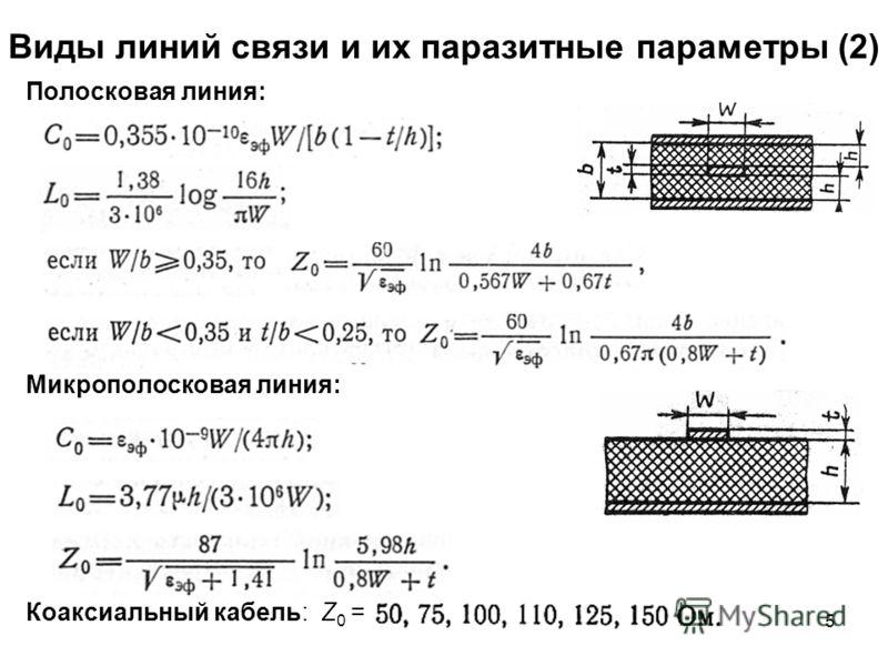 5 Виды линий связи и их паразитные параметры (2) Полосковая линия: Микрополосковая линия: Коаксиальный кабель: Z 0 =