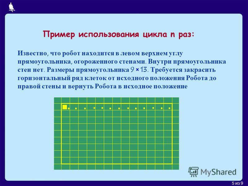 5 из 9 Пример использования цикла n раз: Известно, что робот находится в левом верхнем углу прямоугольника, огороженного стенами. Внутри прямоугольника стен нет. Размеры прямоугольника 9 × 13. Требуется закрасить горизонтальный ряд клеток от исходног