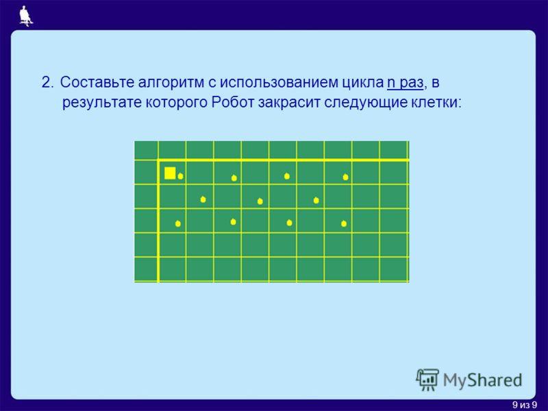 9 из 9 2. Составьте алгоритм с использованием цикла n раз, в результате которого Робот закрасит следующие клетки: