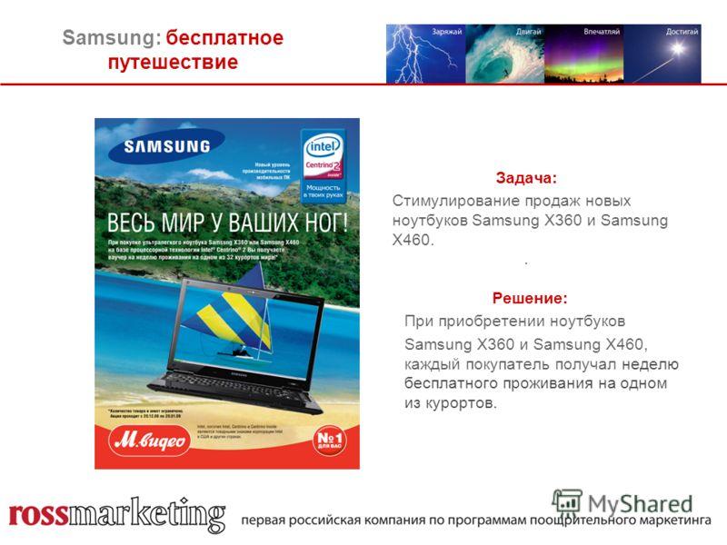 Samsung: бесплатное путешествие Задача: Стимулирование продаж новых ноутбуков Samsung X360 и Samsung X460.. Решение: При приобретении ноутбуков Samsung X360 и Samsung X460, каждый покупатель получал неделю бесплатного проживания на одном из курортов.