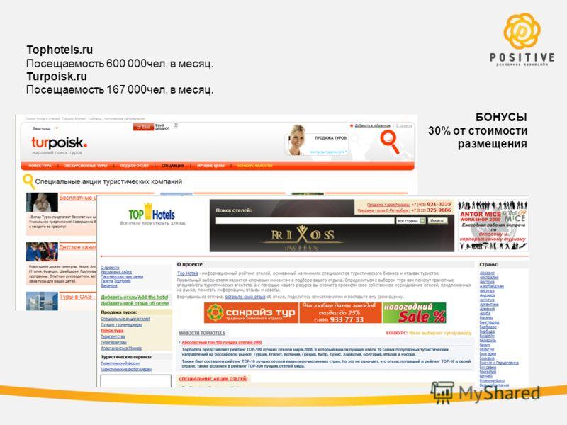 Tophotels.ru Посещаемость 600 000чел. в месяц. Turpoisk.ru Посещаемость 167 000чел. в месяц. БОНУСЫ 30% от стоимости размещения