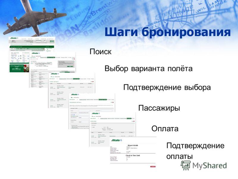 Шаги бронирования Поиск Выбор варианта полёта Подтверждение выбора Пассажиры Оплата Подтверждение оплаты