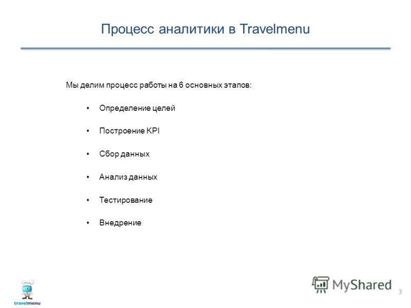 Процесс аналитики в Travelmenu 3 Мы делим процесс работы на 6 основных этапов: Определение целей Построение KPI Сбор данных Анализ данных Тестирование Внедрение