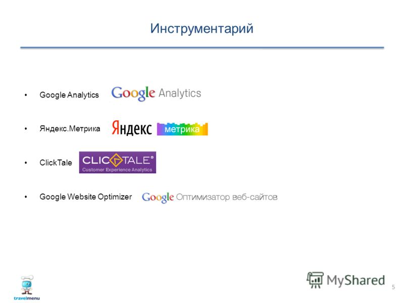 Инструментарий 5 Google Analytics Яндекс.Метрика ClickTale Google Website Optimizer