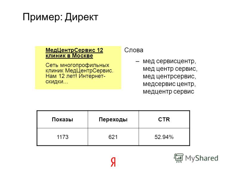 Пример: Директ МедЦентрСервис 12 клиник в Москве Сеть многопрофильных клиник МедЦентрСервис. Нам 12 лет! Интернет- скидки... Слова –мед сервисцентр, мед центр сервис, мед центрсервис, медсервис центр, медцентр сервис ПоказыПереходыCTR 117362152.94%