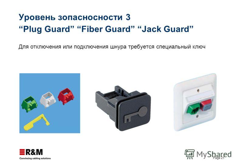 Page 21 Уровень зопасносности 3 Plug Guard Fiber Guard Jack Guard Для отключения или подключения шнура требуется специальный ключ