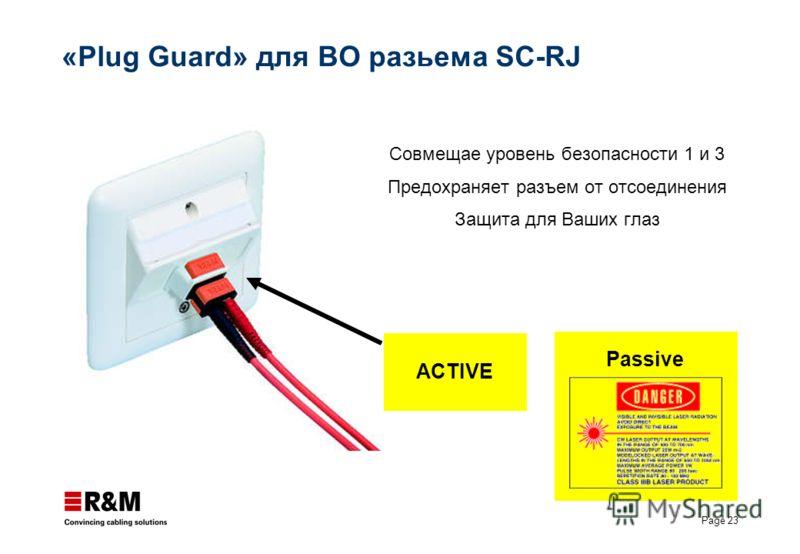 Page 23 «Plug Guard» для ВО разьема SC-RJ Cовмещае уровень безопасности 1 и 3 Предохраняет разъем от отсоединения Защита для Ваших глаз Passive ACTIVE
