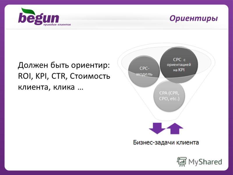 Должен быть ориентир: ROI, KPI, CTR, Стоимость клиента, клика … Ориентиры
