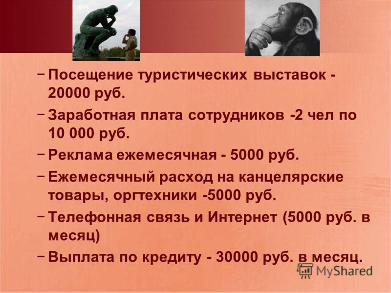 Посещение туристических выставок - 20000 руб. Заработная плата сотрудников -2 чел по 10 000 руб. Реклама ежемесячная - 5000 руб. Ежемесячный расход на канцелярские товары, оргтехники -5000 руб. Телефонная связь и Интернет (5000 руб. в месяц) Выплата