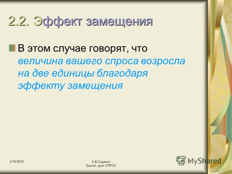 18/08/2012 А.В.Сиденко Третий урок СПРОС 12 2.2. Эффект замещения В этом случае говорят, что величина вашего спроса возросла на две единицы благодаря эффекту замещения