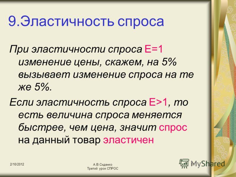 18/08/2012 А.В.Сиденко Третий урок СПРОС 51 9.Эластичность спроса При эластичности спроса Е=1 изменение цены, скажем, на 5% вызывает изменение спроса на те же 5%. Если эластичность спроса Е>1, то есть величина спроса меняется быстрее, чем цена, значи