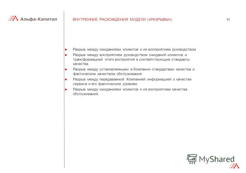 11 Разрыв между ожиданиями клиентов и их восприятием руководством Разрыв между восприятием руководством ожиданий клиентов и трансформацией этого восприятия в соответствующие стандарты качества. Разрыв между установленными в Компании стандартами качес