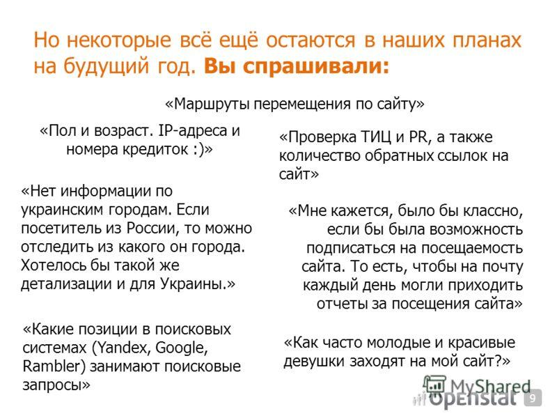 Но некоторые всё ещё остаются в наших планах на будущий год. Вы спрашивали: «Проверка ТИЦ и PR, а также количество обратных ссылок на сайт» «Маршруты перемещения по сайту» «Пол и возраст. IP-адреса и номера кредиток :)» «Нет информации по украинским