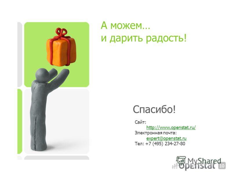 Сайт: http://www.openstat.ru/ Электронная почта: expert@openstat.ru expert@openstat.ru Тел: +7 (495) 234-27-80 Спасибо! 1010 А можем… и дарить радость!