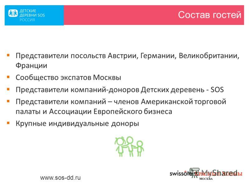 Состав гостей Представители посольств Австрии, Германии, Великобритании, Франции Сообщество экспатов Москвы Представители компаний-доноров Детских деревень - SOS Представители компаний – членов Американской торговой палаты и Ассоциации Европейского б