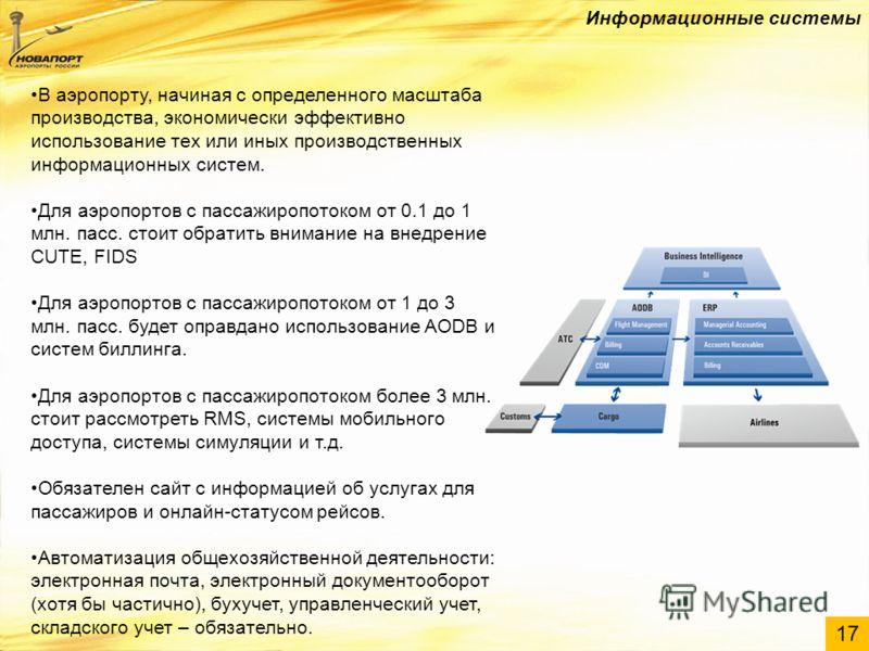 17 Информационные системы В аэропорту, начиная с определенного масштаба производства, экономически эффективно использование тех или иных производственных информационных систем. Для аэропортов с пассажиропотоком от 0.1 до 1 млн. пасс. стоит обратить в