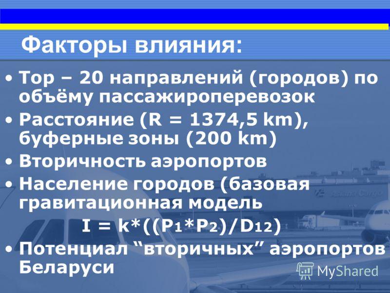 Факторы влияния: Top – 20 направлений (городов) по объёму пассажироперевозок Расстояние (R = 1374,5 km), буферные зоны (200 km) Вторичность аэропортов Население городов (базовая гравитационная модель I = k*((P 1 *P 2 )/D 12 ) Потенциал вторичных аэро