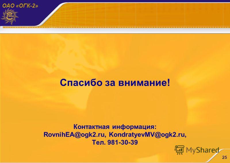 ОАО «ОГК-2» 25 Спасибо за внимание! Контактная информация: RovnihEA@ogk2.ru, KondratyevMV@ogk2.ru, Тел. 981-30-39