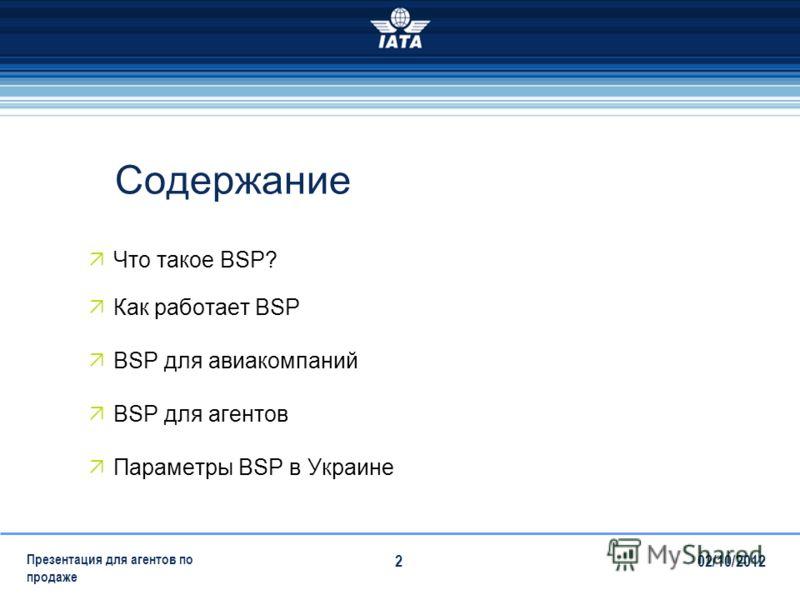 28/07/2012 Презентация для агентов по продаже 2 Содержание Что такое BSP? Как работает BSP BSP для авиакомпаний BSP для агентов Параметры BSP в Украине