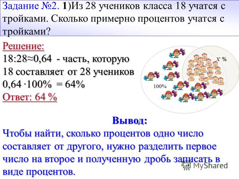 Задание 2. 1)Из 28 учеников класса 18 учатся с тройками. Сколько примерно процентов учатся с тройками? Решение: 18:280,64 - часть, которую 18 составляет от 28 учеников 0,64 ·100% = 64% Ответ: 64 % Вывод: Чтобы найти, сколько процентов одно число сост