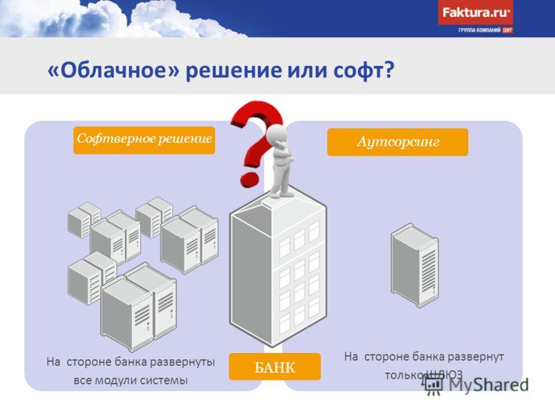 «Облачное» решение или софт? Аутсорсинг БАНК Софтверное решение На стороне банка развернуты все модули системы На стороне банка развернут только ШЛЮЗ