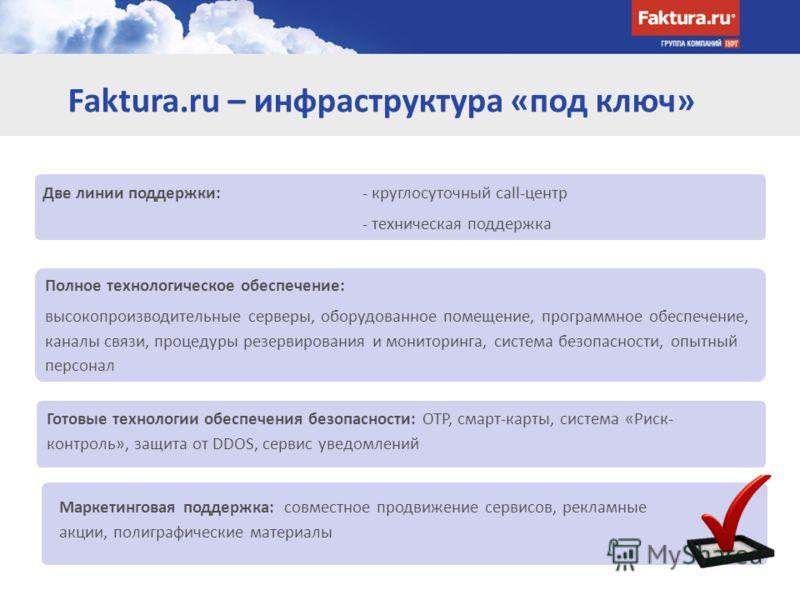Faktura.ru – инфраструктура «под ключ» Две линии поддержки: - круглосуточный call-центр - техническая поддержка Полное технологическое обеспечение: высокопроизводительные серверы, оборудованное помещение, программное обеспечение, каналы связи, процед
