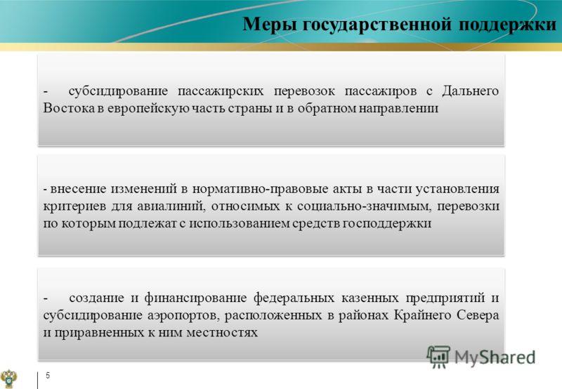 5 -создание и финансирование федеральных казенных предприятий и субсидирование аэропортов, расположенных в районах Крайнего Севера и приравненных к ним местностях -субсидирование пассажирских перевозок пассажиров с Дальнего Востока в европейскую част