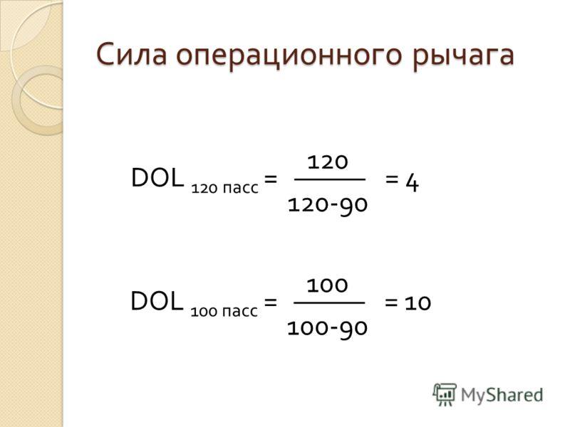 Сила операционного рычага DOL 120 пасс = 120 120-90 = 4 DOL 100 пасс = 100 100-90 = 10