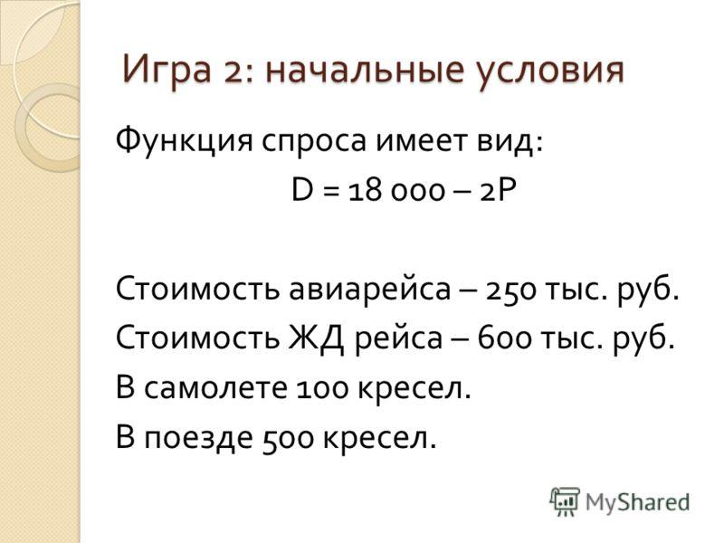 Игра 2: начальные условия Функция спроса имеет вид: D = 18 000 – 2P Стоимость авиарейса – 250 тыс. руб. Стоимость ЖД рейса – 600 тыс. руб. В самолете 100 кресел. В поезде 500 кресел.
