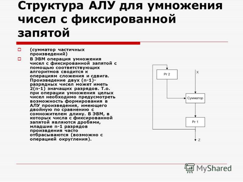 Структура АЛУ для умножения чисел с фиксированной запятой (сумматор частичных произведений) В ЭВМ операция умножения чисел с фиксированной запятой с помощью соответствующих алгоритмов сводится к операциям сложения и сдвига. Произведение двух (n-1)- р
