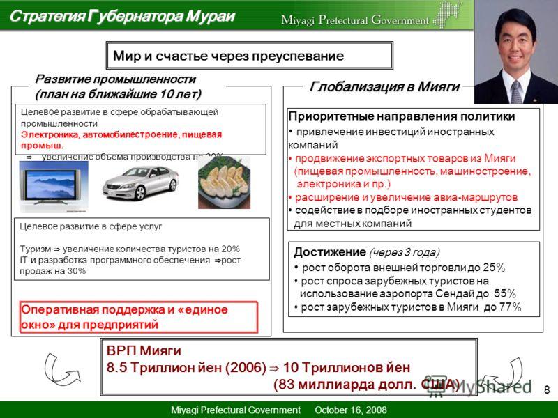 8 Стратегия Г убернатора Мураи ВРП Мияги 8.5 Триллион йен (2006) 10 Триллион ов йен (83 миллиарда долл. США ) Целе вое развитие в сфере обрабатывающей промышленности Электроника, автомобил естроение, пищ евая промыш. увеличение объема производства на