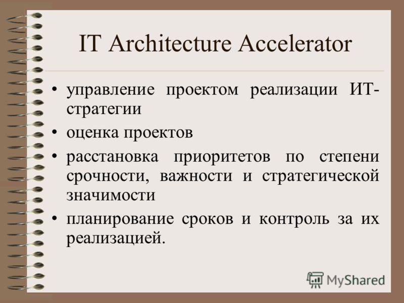 IT Architecture Accelerator управление проектом реализации ИТ- стратегии оценка проектов расстановка приоритетов по степени срочности, важности и стратегической значимости планирование сроков и контроль за их реализацией.
